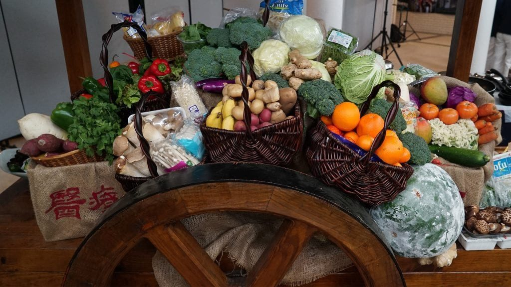 Table full of groceries with food choices
